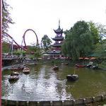 Dragon Boat lake and Dæmonen roller coaster (StreetView)