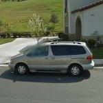 Minivan hit by Mythbusters cannonball - 06 Dec 2011 (StreetView)