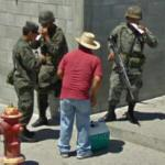Mexican soldiers and a vendor (StreetView)