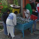 Guys playing table football