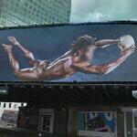 Paul Sackey on a Powerade billboard (StreetView)