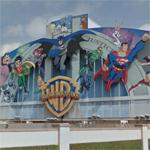 Warner Brothers superhero mural