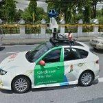 Google car reflection in a Google car (StreetView)