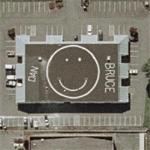 Smiley face roof (Google Maps)