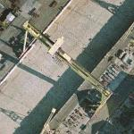 Giant cranes Samson & Goliath and the world's largest drydock (Google Maps)
