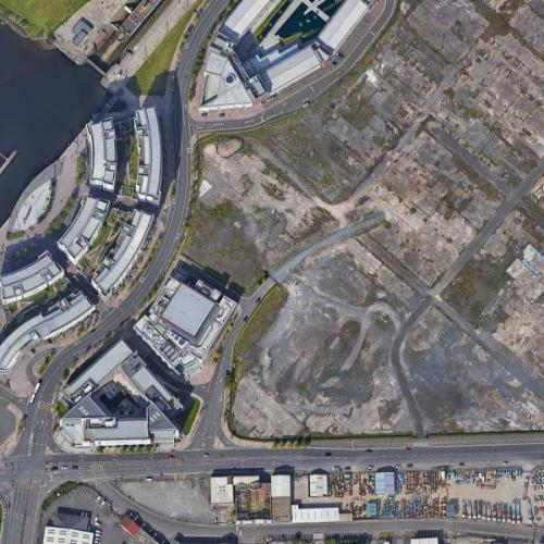 Site of the slipways where Titanic and Olympic were built (Google Maps)
