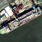 Drilling ship being built (Google Maps)