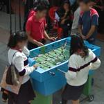Playing table football (StreetView)