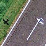 Airplane taking off from Cranfield (Google Maps)