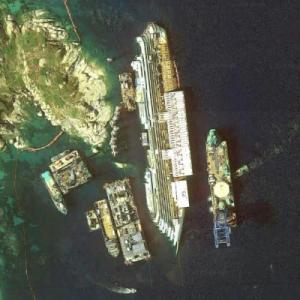 Wreck of the Costa Concordia (Google Maps)