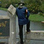 Guy on bridge w/ rifle