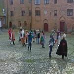 Children playing medieval knights