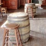 Barrels used as tables