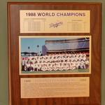 1988 World Series Champions plaque: Los Angeles Dodgers