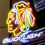Blackhawks Bud Light neon sign (StreetView)