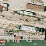 Ships in dry dock (Google Maps)