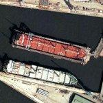 Ship in floating dry dock (Google Maps)
