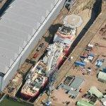 MSV Well Enhancer in drydock (Google Maps)