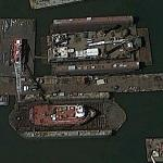 Tug & Derrick Barge Drydocked (Google Maps)