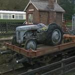 Old Ferguson TE20 tractor on a railroad waggon (StreetView)