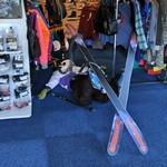 Skiier fallen on the floor