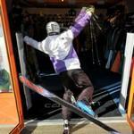 Skiier stumbles over the doorstep