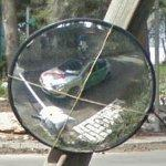 Google car in a mirror