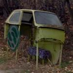 Chassis recycled as bus stop (StreetView)
