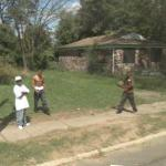 Ball players in the street (StreetView)