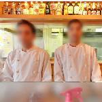 Employees posing