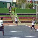 Playing volleyball (StreetView)