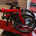 Red folding bicycle