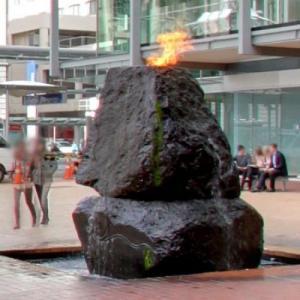 Flaming rock fountain (StreetView)