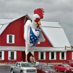 Giant patriotic rooster (StreetView)