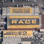 Amazing Race ad on a roof (Google Maps)
