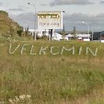 """Velkomin """"Welcome"""" sign"""
