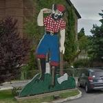 Burger-Hoisting Paul Bunyan Sign