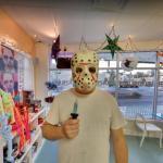 Man wearing a Jason Voorhees mask