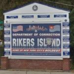 "Entry to Rikers Island, ""Home of New York's Boldest"""