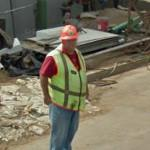Person wearing a hard hat