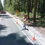 Roadworker wearing hard hat