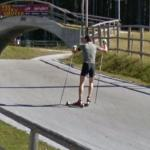 Skiing without snow (StreetView)