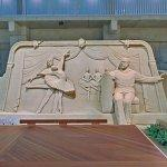 Sand Sculpture of 'Tchaikovsky and Swan lake' by Susanne Ruseler (StreetView)