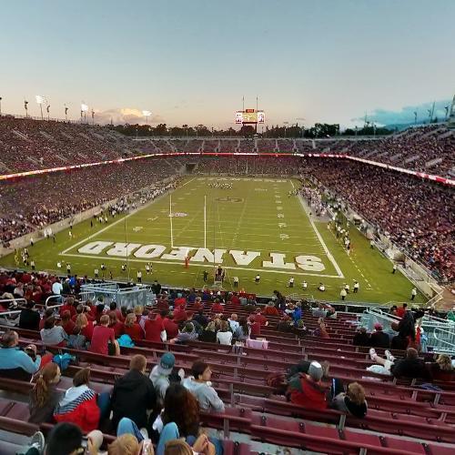Game in progress at Stanford Stadium (StreetView)