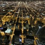 Chicago at night from 'The Ledge' on the Skydeck in Willis Tower (StreetView)