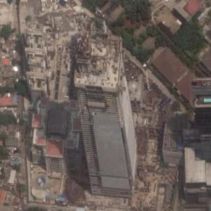 Thamrin Nine Tower (tallest building in Indonesia) under construction (Google Maps)