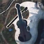 Stradivarius violin shaped swimming pool