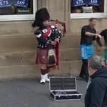 Bagpipe player in uniform