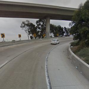 "Ani almost gets run over by a truck on an offramp (""True Detective"") (StreetView)"