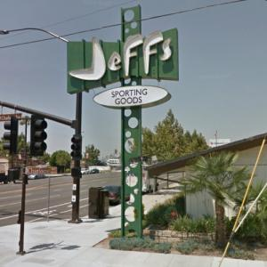 Jeffs Sporting Goods Sign (StreetView)